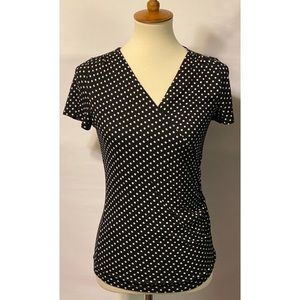 Talbots Small Petite Black and White Polka Dot Top